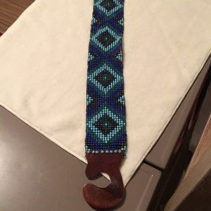 Anthropologie Accessories - Peacock Colored Beaded Stretch Belt